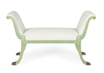 A GREEN-PAINTED AND UPHOLSTERE
