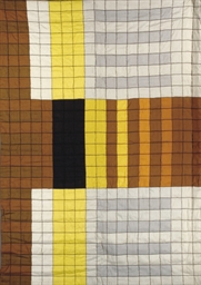 A QUILTED SILK AND BLOCK EMBRO