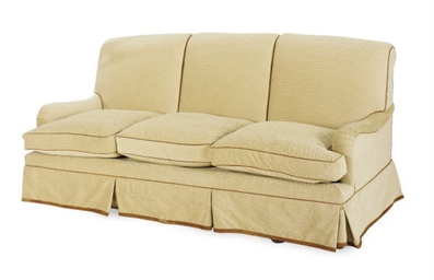A BEIGE CHENILLE UPHOLSTERED S