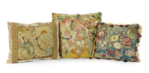 THREE CONTINENTAL CUSHIONS,