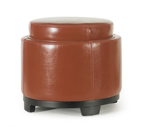 A RED LEATHER STOOL/SIDE TABLE