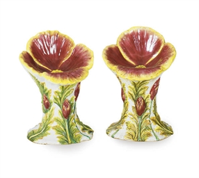 A PAIR OF MAJOLICA POLYCHROME-