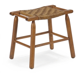 A WALNUT AND RATTAN STOOL,