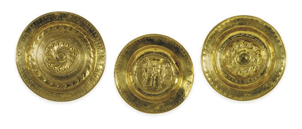 THREE GERMAN BRASS ALMS DISHES