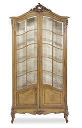 A FRENCH WALNUT VITRINE-CABINE