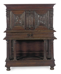 A FRENCH OAK CABINET ON STAND,