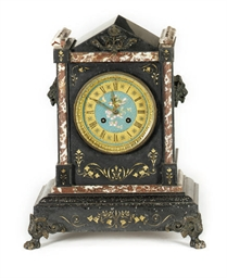 A FRENCH PATINATED-METAL MOUNTED SLATE AND PAINTED ENAMEL STRIKING MANTEL CLOCK,