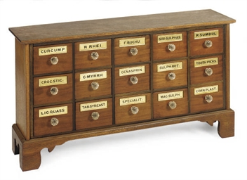 A MAHOGANY FIFTEEN-DRAWER APOT