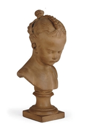 A TERRACOTTA BUST OF A YOUNG G