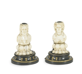 A PAIR OF GERMAN IVORY FINIAL