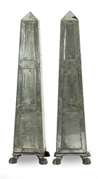 A PAIR OF MIRRORED OBELISKS,