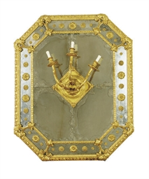 A PAIR OF GILTWOOD THREE-BRANC