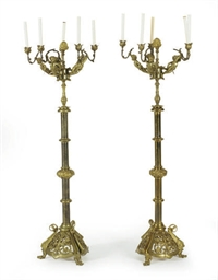 A PAIR OF GILT-BRONZE AND BRAS