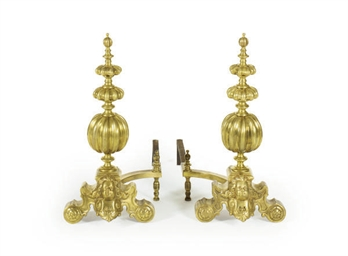 A PAIR OF GILT-BRONZE ANDIRONS