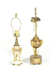 TWO FRENCH URNS MOUNTED AS LAM