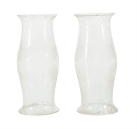 A PAIR OF ETCHED GLASS HURRICA