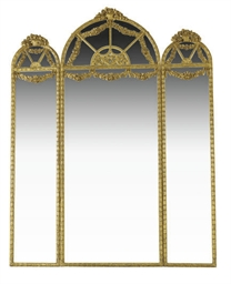 A GILTWOOD TRIPARTITE MIRROR,