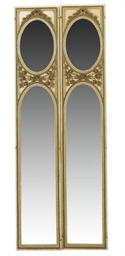 A PAIR OF PAINTED MIRRORS,