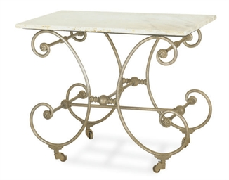 A FRENCH STEEL AND MARBLE TOP