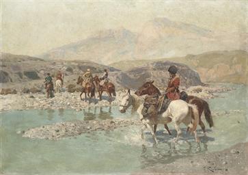 Cossacks crossing a river