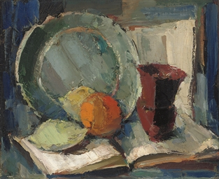Still life with brown vase and