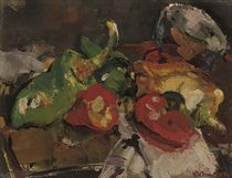 Still life with red and green peppers