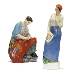 TWO SOVIET PORCELAIN FIGURES