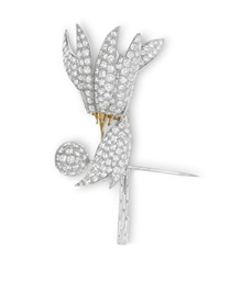 A DIAMOND CORSAGE BROOCH, BY J