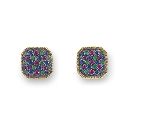 A PAIR OF MULTI-GEM CUFFLINKS,