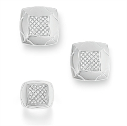 A SET OF DIAMOND AND WHITE GOL