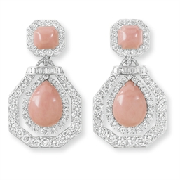 **A PAIR OF DIAMOND AND CORAL