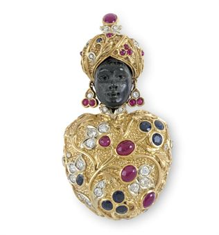 A MULTI-GEM, DIAMOND AND GOLD BLACKAMOOR BROOCH, BY NARDI