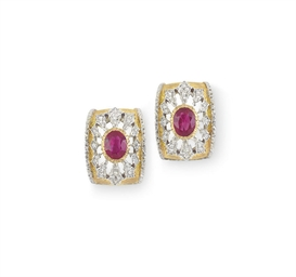A PAIR OF RUBY, DIAMOND AND GO