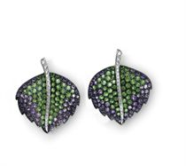 A PAIR OF EMERALD, AMETHYST AND DIAMOND EAR CLIPS, BY CARNET