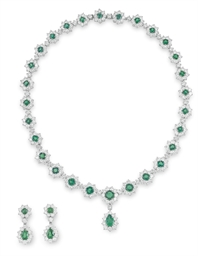 A SUITE OF EMERALD AND DIAMOND