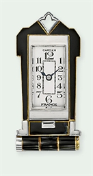 AN ART DECO ENAMEL LAPEL WATCH
