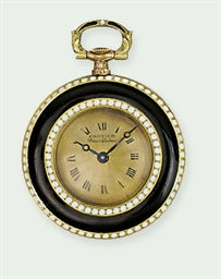 A LADY'S ENAMEL POCKET WATCH,