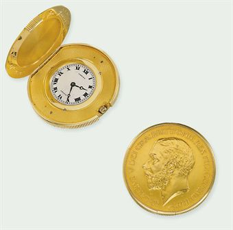 A GEORGE V 1911 FIVE POUND COIN WATCH, BY CARTIER