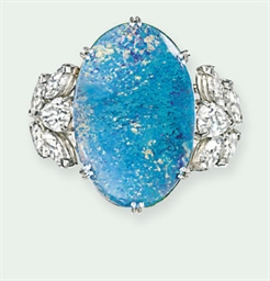 AN OPAL AND DIAMOND RING, BY C