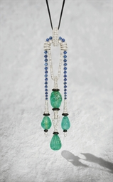 A FINE ART DECO GEM-SET PENDAN