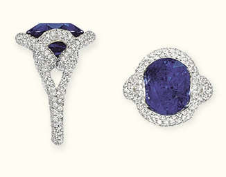 A SAPPHIRE AND DIAMOND RING, M
