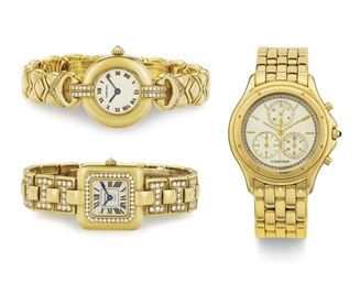 CARTIER.  A LOT OF THREE 18K G