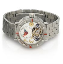 ALAIN SILBERSTEIN. A FINE AND UNUSUAL STAINLESS STEEL TOURBILLON WRISTWATCH WITH BRACELET