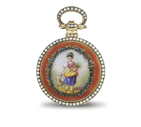 BOVET. A GILT, ENAMEL AND PEAR