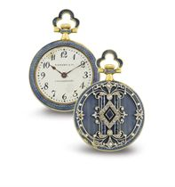 HAAS. AN 18K GOLD, DIAMOND, ENAMEL AND SAPPHIRE OPENFACE KEYLESS LEVER PENDANT WATCH
