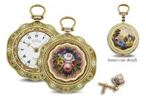 MARKWICK MARKHAM. A FINE 18K GOLD AND ENAMEL TRIPLE CASE OPENFACE VERGE WATCH MADE FOR THE TURKISH MARKET WITH ENAMEL KEY