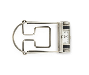 cartier. a silver and enamel art deco money clip with watch