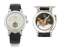 VALUE SWISS. A UNIQUE 18K WHITE GOLD WRISTWATCH WITH CONCEALED EROTIC AUTOMATON