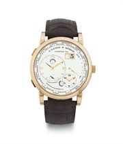 A. LANGE & SÖHNE.  AN 18K PINK GOLD DUAL AND WORLD TIME WRISTWATCH WITH DATE AND POWER RESERVE