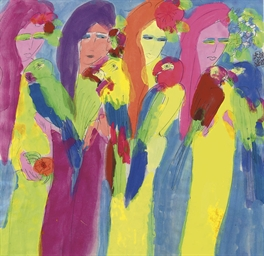 Four women with parrots